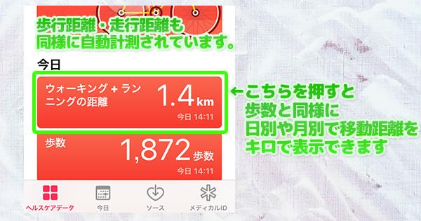 ←こちらを押すと 歩数と同様に  日別や月別で移動距離を キロで表示できます