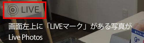 画面左上に「Live マーク」のついているデータがLive Photos