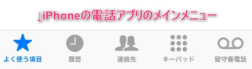 iPhoneの電話アプリのメインメニュー