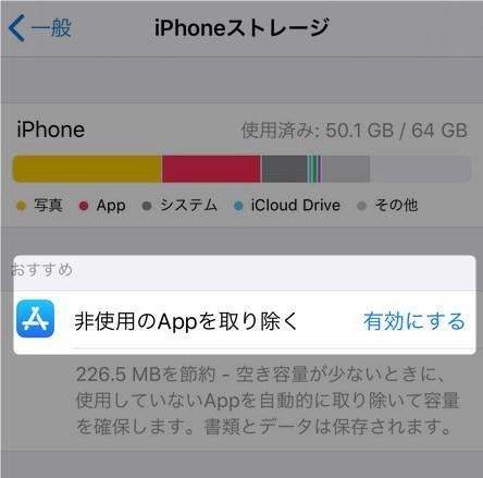 非使用のAppを取り除く