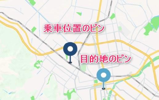 乗車位置と目的地のピン